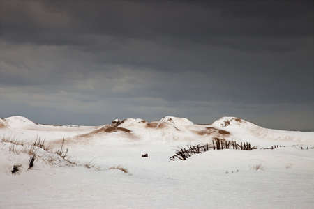 inclement weather: south shields, tyne and wear, england; a winter landscape
