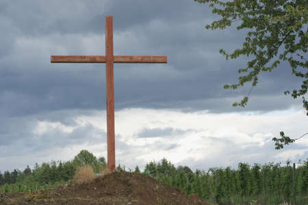 inclement weather: a cross on a hill