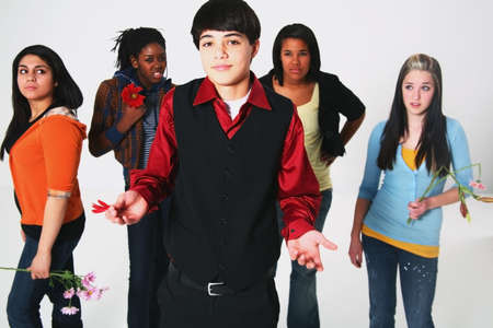 preadolescent: boy having a choice in girlfriend Stock Photo