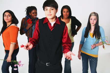 boy having a choice in girlfriend Stock Photo