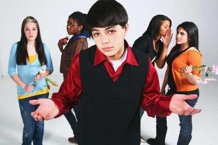 exasperation: boy having a choice in girlfriend Stock Photo