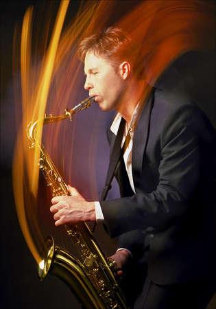 Man playing saxophone Stok Fotoğraf