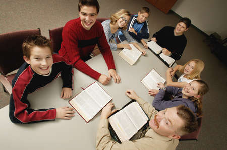 Young peoples Bible study Stock Photo