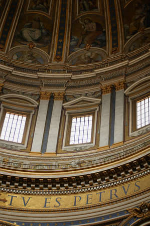 ritzy: Looking Up at Dome in St. Peters Basilica, Vatican City, Rome Italy    Editorial
