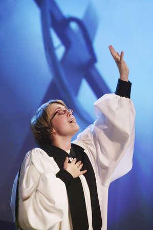 robe: Woman sings Stock Photo
