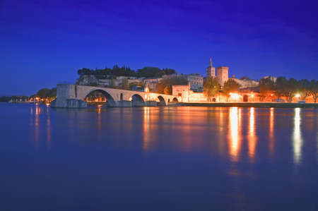 rhone: Avignon from Rhone River Provence France