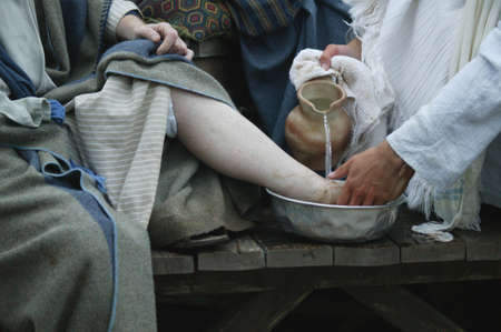 Jesus washes disciples feet photo