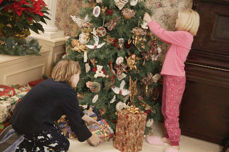 Decorating the tree for Christmas photo