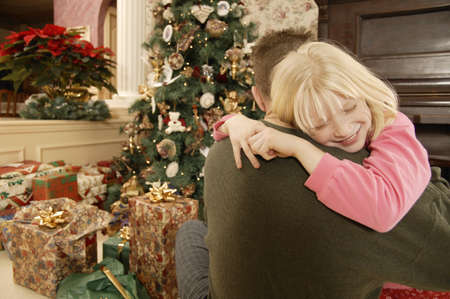 Christmas morning hug
