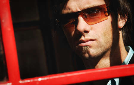 fixate: Man with sunglasses Stock Photo