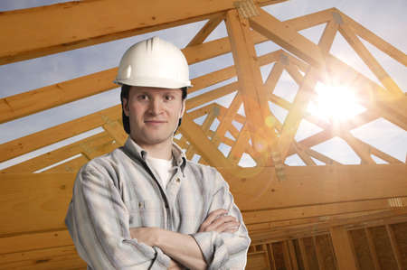 fixate: Construction worker Stock Photo