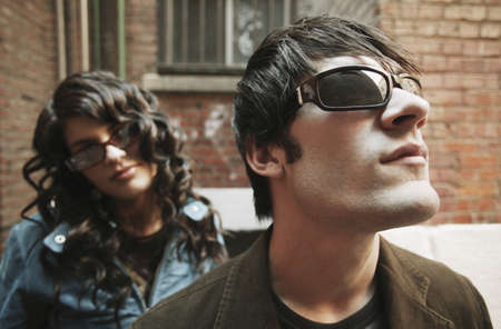 Trendy couple wearing sunglasses photo