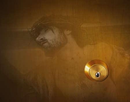 Image of Jesus Christ and a door lock Stock Photo - 7191683
