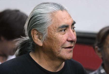 craggy: Senior man with long gray hair