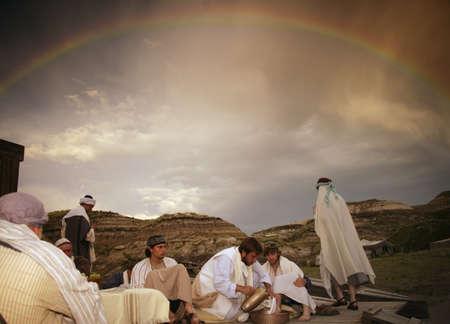 Jesus washes disciple's feet