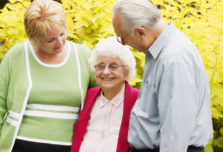 Adoring a senior Stock Photo