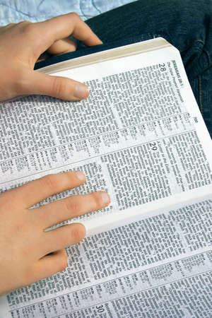righteous: Reading the Bible Stock Photo