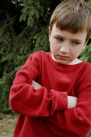 uncomfortable: Unhappy boy