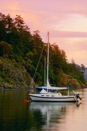 anchored: Anchored sailboats Stock Photo
