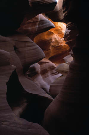 pinchbeck: Sunlight and shadow in Upper Antelope slot canyon Stock Photo
