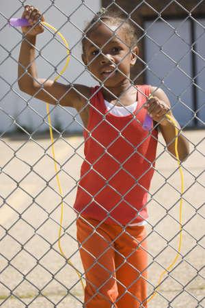 saltar: Chica con cuerda de saltar