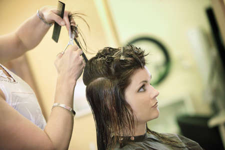 bodypart: Woman having her hair cut Stock Photo