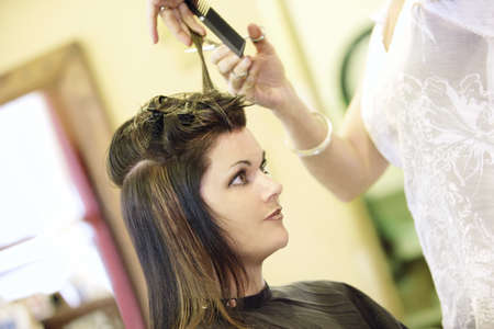 hairstylists: Woman having her hair cut Stock Photo