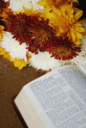 isaiah: Flowers beside Bible open to Isaiah 6