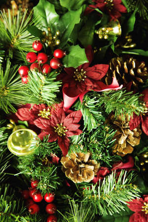 pine wreaths: Christmas arrangement Stock Photo