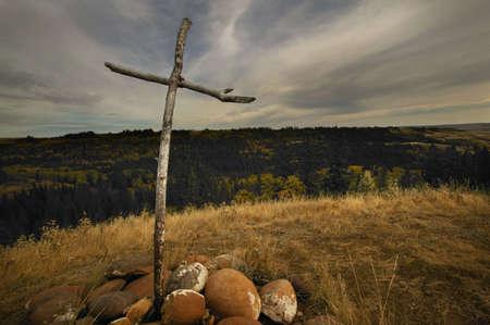 glubish: Cross on a hill Stock Photo