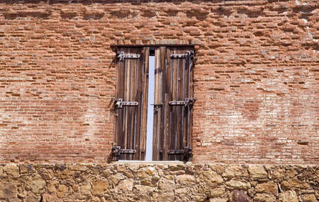 window coverings: Window in a brick building Stock Photo