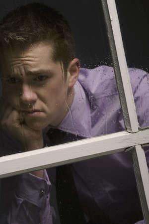 dispirited: Unhappy man