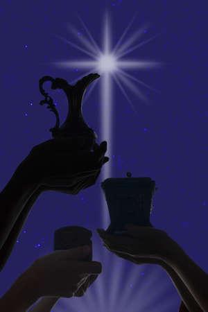 rois mages: Trois wisemen offrant leurs cadeaux.  Banque d'images