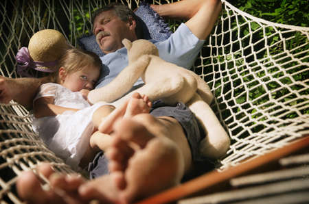 grandkids: Grandfather and granddaughter Stock Photo