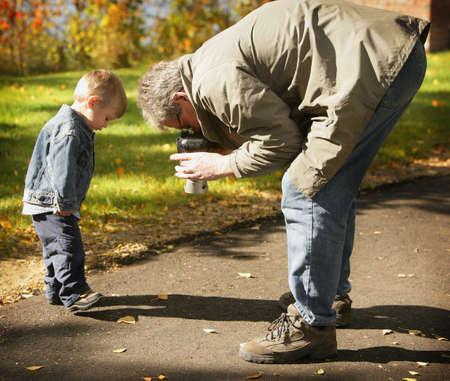 Grandfather and grandson photo