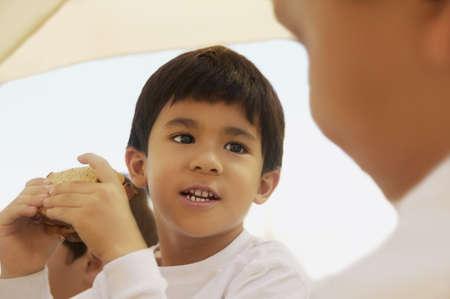 healthfulness: Boy eating a sandwich