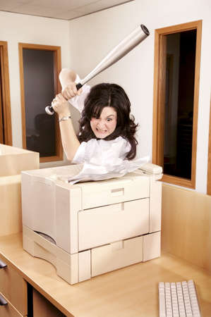 computer printer: Frustrated woman