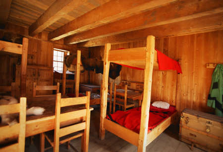 Bunk beds in a rustic interior Stock Photo