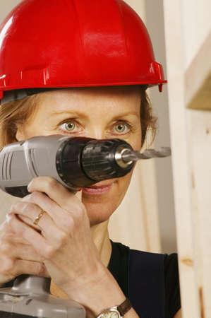 fifty something: Tradeswoman Stock Photo