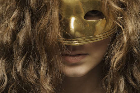 Closeup of woman with mask