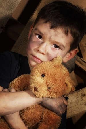 homeless people: Impoverished boy