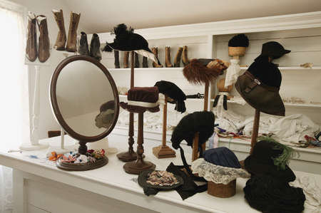 Historical hat and shoe shop in Fort Edmonton, Alberta Stock Photo - 7197835