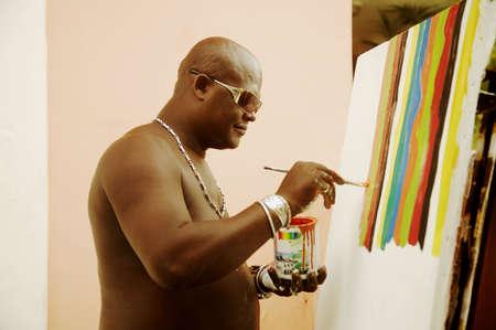 Man painting photo