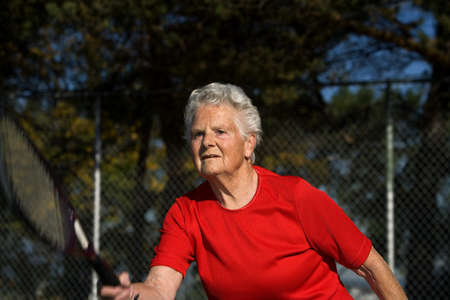 seventy something: Tennis player Stock Photo