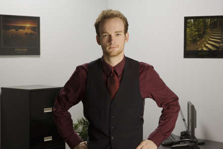 half length posed: Man in office Stock Photo