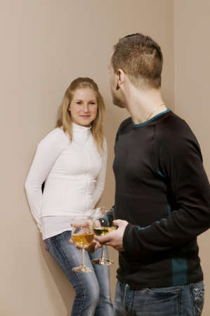 Couple having wine together Stock Photo - 7198755