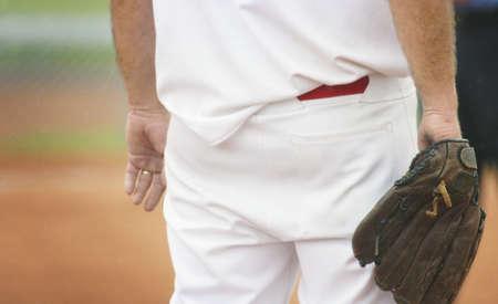 bodypart: Baseball players backside Stock Photo