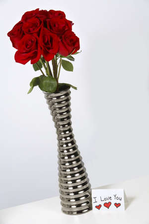 warkentin: I love you card with roses in a vase
