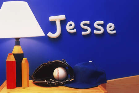 architectural interiors: Jesses night table and name Stock Photo