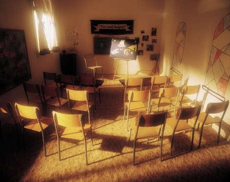 Sun-filled sunday school room